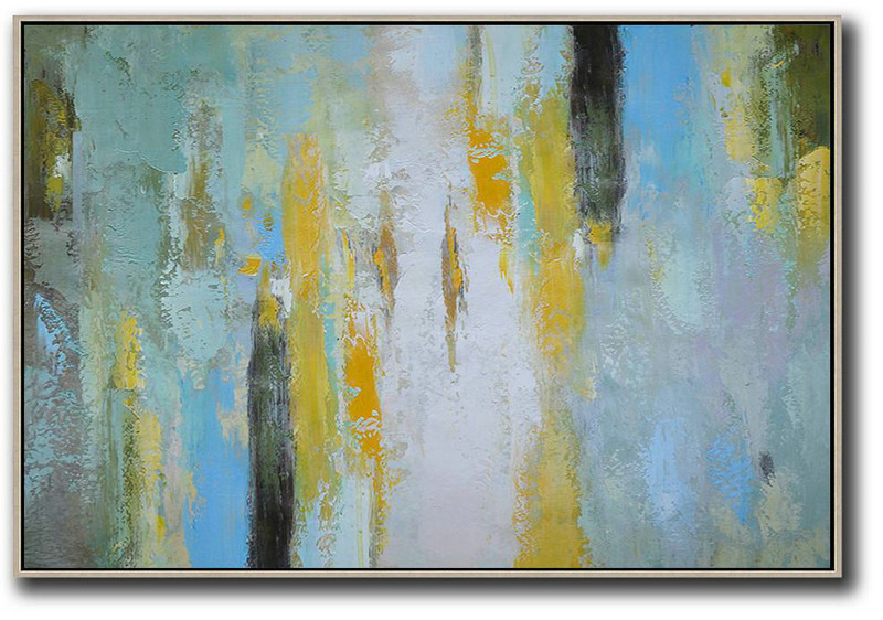 Oversized Horizontal Contemporary Art,Large Abstract Art Handmade Acrylic Painting,White,Yellow,Purple Grey,Black,Lake Blue