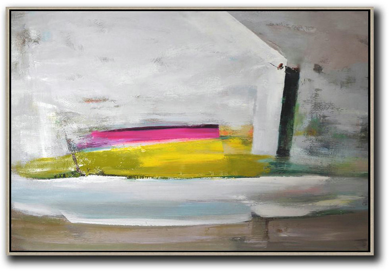 Horizontal Palette Knife Contemporary Art,Large Wall Art Home Decor,Grey.Yellow,Pink