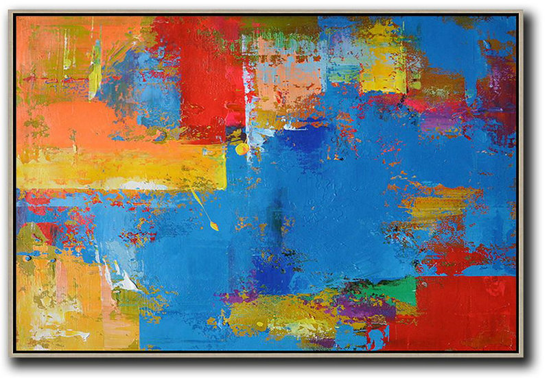 Horizontal Palette Knife Contemporary Art,Large Colorful Wall Art,Blue,Red,Yellow,Orange