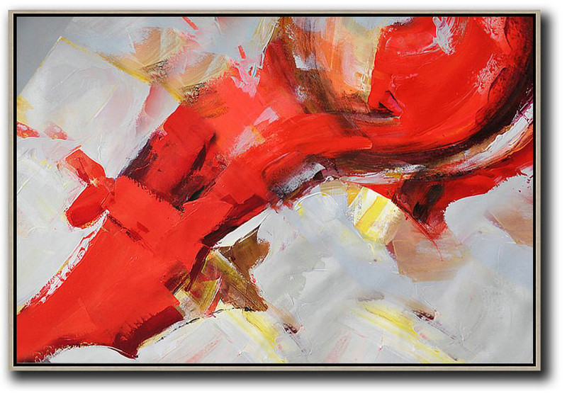 Horizontal Palette Knife Contemporary Art,Unique Canvas Art,Red,Grey,Yellow