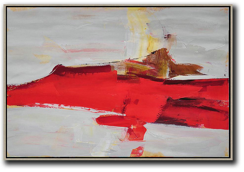 Horizontal Palette Knife Contemporary Art,Living Room Wall Art,Red,Grey,Yellow