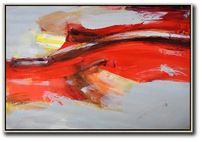 Horizontal Palette Knife Contemporary Art,Huge Abstract Canvas Art,Red,Grey,Yellow