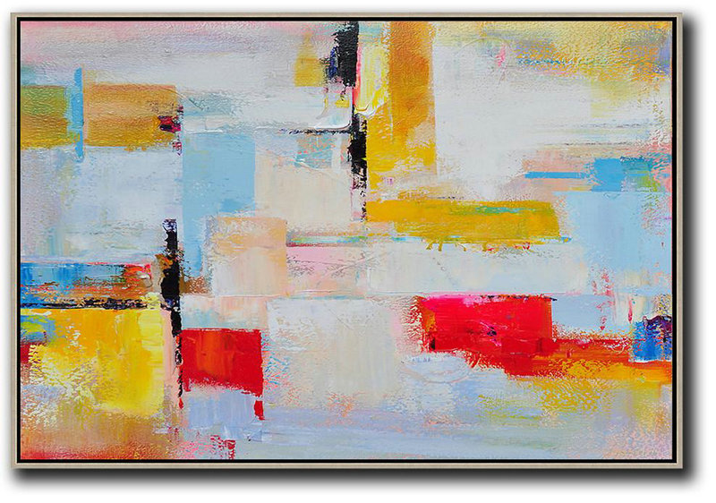 Horizontal Palette Knife Contemporary Art,Hand Painted Original Art,Yellow,White,Red