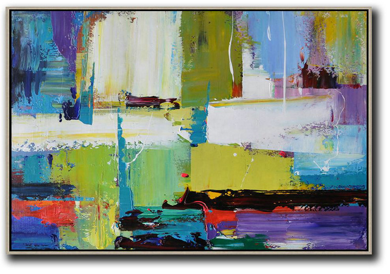 Horizontal Palette Knife Contemporary Art,Large Wall Art Canvas,Yellow,White,Blue,Purple