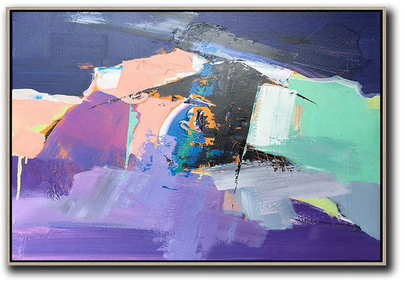 Horizontal Palette Knife Contemporary Art,Canvas Artwork For Sale,Pink,Purple,Black