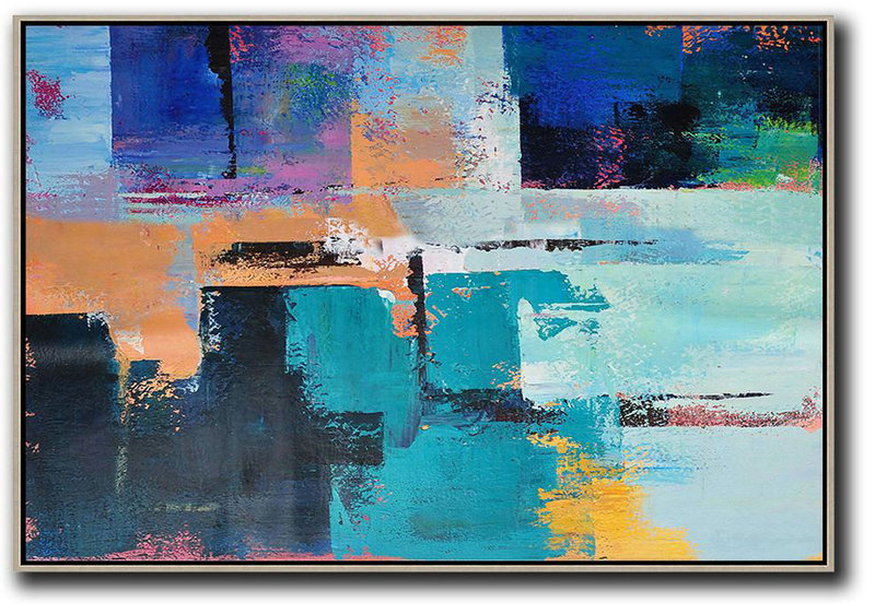 Horizontal Palette Knife Contemporary Art,Unique Canvas Art,Earthy Yellow ,Blue,Black