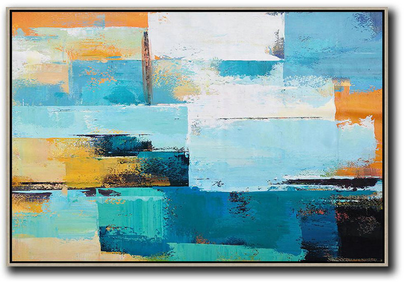 Horizontal Palette Knife Contemporary Art,Giant Canvas Wall Art,Blue,White,Yellow
