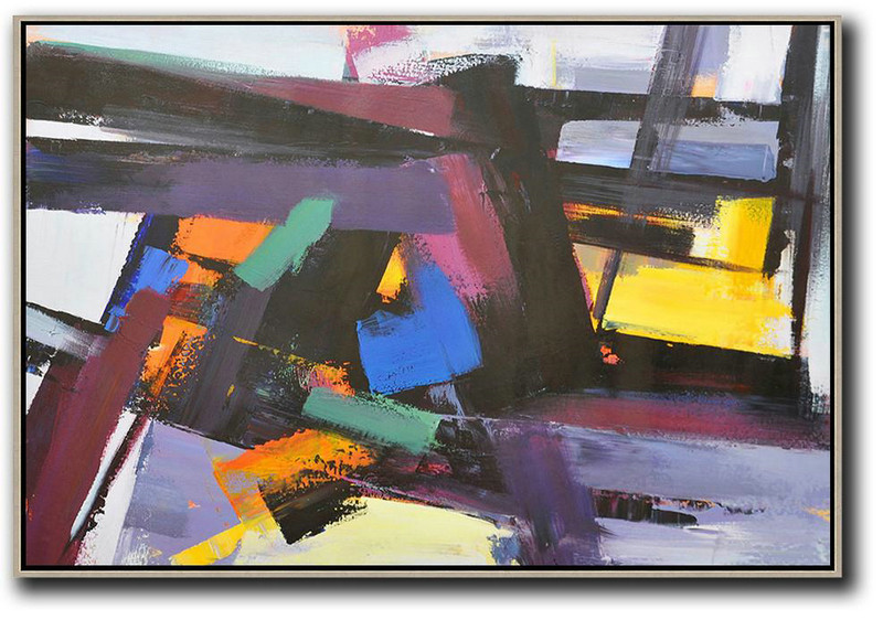 Horizontal Palette Knife Contemporary Art,Living Room Canvas Art,Black,Purple,Blue,Yellow
