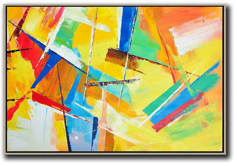 Horizontal Palette Knife Contemporary Art,Canvas Wall Paintings,Yellow,Red,Blue