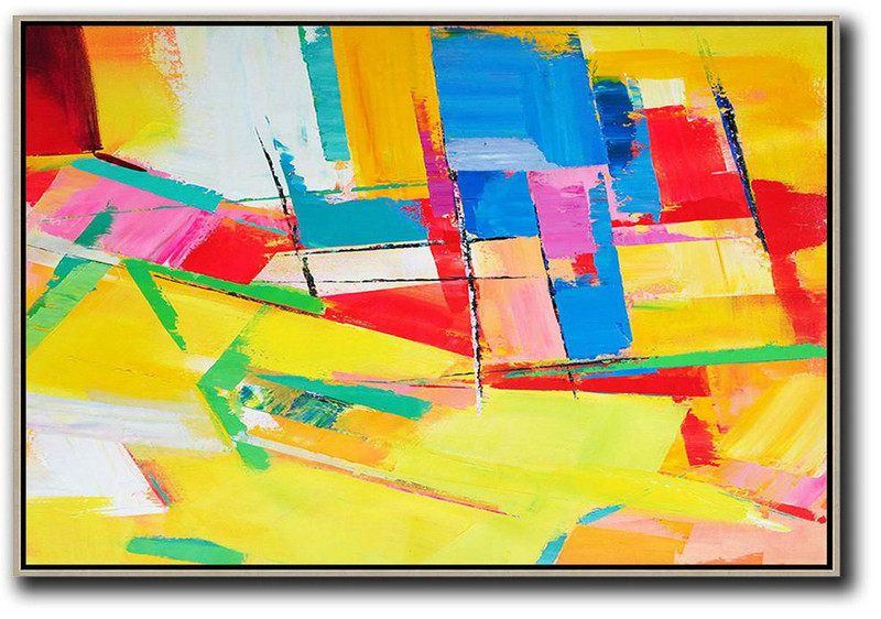 Horizontal Palette Knife Contemporary Art,Acrylic Painting Large Wall Art,Yellow,Red,Blue