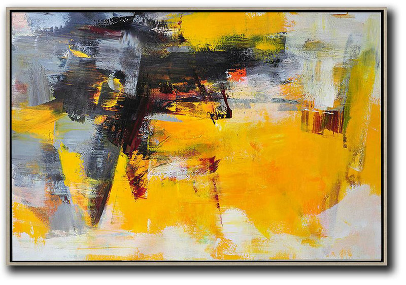Horizontal Palette Knife Contemporary Art,Living Room Canvas Art,Black,Grey,Yellow