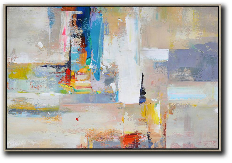 Horizontal Palette Knife Contemporary Art,Original Art,White,Grey,Yellow,Blue,Red