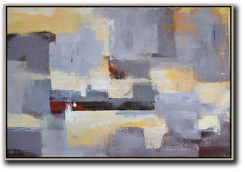Horizontal Palette Knife Contemporary Art,Abstract Painting On Canvas,Grey,Yellow,White