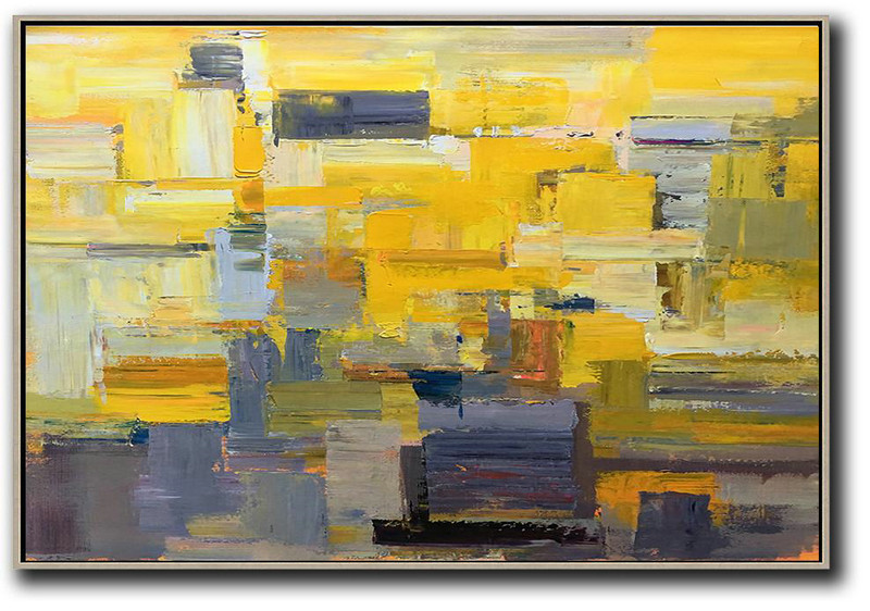 Horizontal Palette Knife Contemporary Art,Modern Art Oil Painting,Yellow,Grey,White
