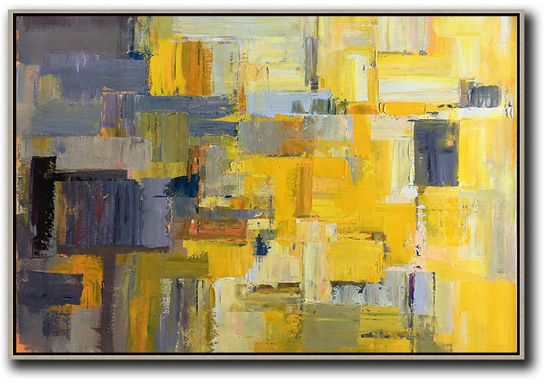 Horizontal Palette Knife Contemporary Art,Original Art For Sale By Artist,Yellow,Grey,White