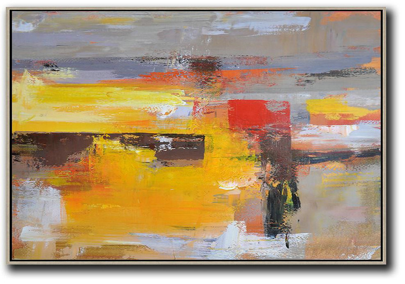 Horizontal Palette Knife Contemporary Art,Huge Abstract Canvas Art,Grey,Yellow,Red