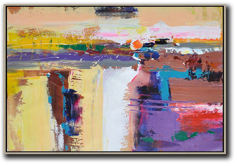 Horizontal Palette Knife Contemporary Art,Acrylic Painting On Canvas,Yellow,White,Brown,Purple