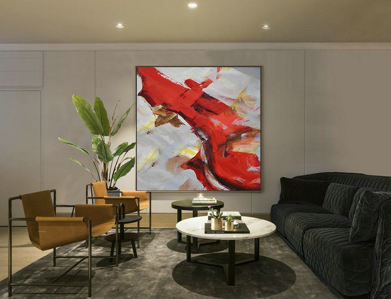 Oversized Palette Knife Painting Contemporary Art,Hand Painted Original Art,Grey,Red,Brown,Yellow
