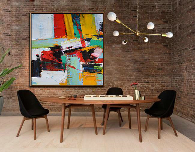 Oversized Palette Knife Painting Contemporary Art,Abstract Art Decor Large Canvas Painting,Grass Green,Red,Yellow,Black