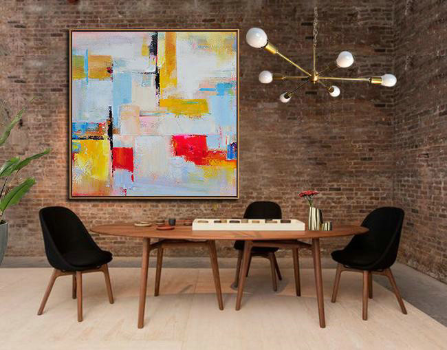 Oversized Palette Knife Painting Contemporary Art,Modern Abstract Wall Art,Grey,Yellow,Red,Sky Blue