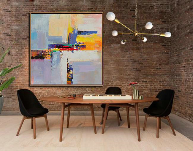 Oversized Palette Knife Painting Contemporary Art,Unique Canvas Art,Blue,Yellow,Red,Pink Purple