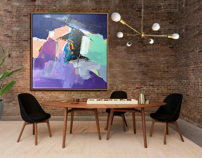Oversized Palette Knife Painting Contemporary Art,Home Canvas Wall Art,Dark Blue,Nude,Purple,Light Green