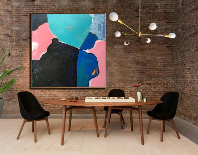 Oversized Palette Knife Painting Contemporary Art,Giant Canvas Wall Art,Black,Pink,Light Green,Blue