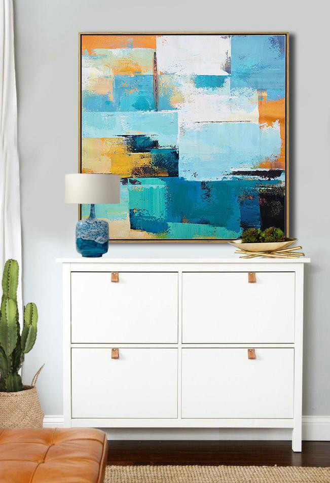 Oversized Palette Knife Painting Contemporary Art,Living Room Canvas Art,Navy Blue,Sky Blue,White,Yellow,Black