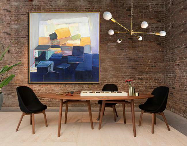 Oversized Palette Knife Painting Contemporary Art,Large Wall Canvas,Dark Blue,Blue,White,Yellow,Purple