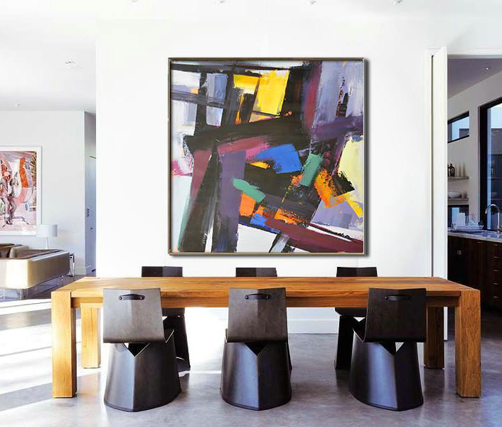 Oversized Palette Knife Painting Contemporary Art,Canvas Wall Paintings,Black,Purple,Pink,Blue,Yellow,Brown