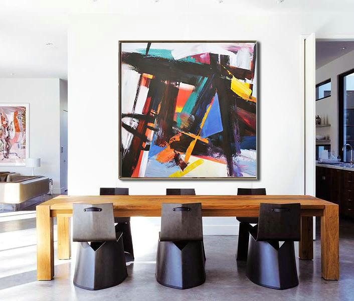 Oversized Palette Knife Painting Contemporary Art,Huge Canvas Art On Canvas,Black,Blue,Red,White,Yellow