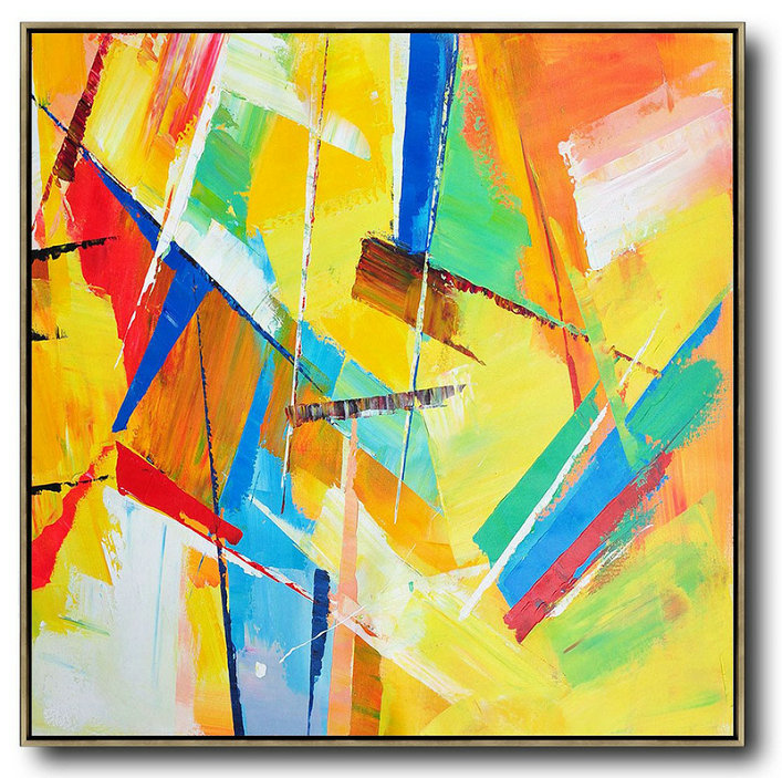 Oversized Palette Knife Painting Contemporary Art,Acrylic Painting Large Wall Art,Yellow,Light Green,Red,Blue,Pink