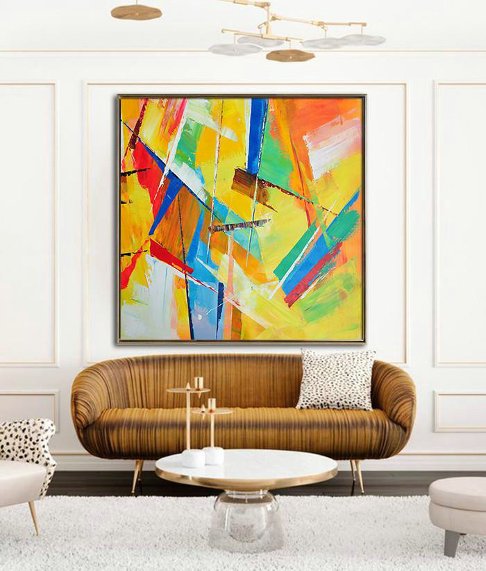 Oversized Palette Knife Painting Contemporary Art,Acrylic Painting Large Wall Art,Yellow,Light Green,Red,Blue,Pink - Click Image to Close