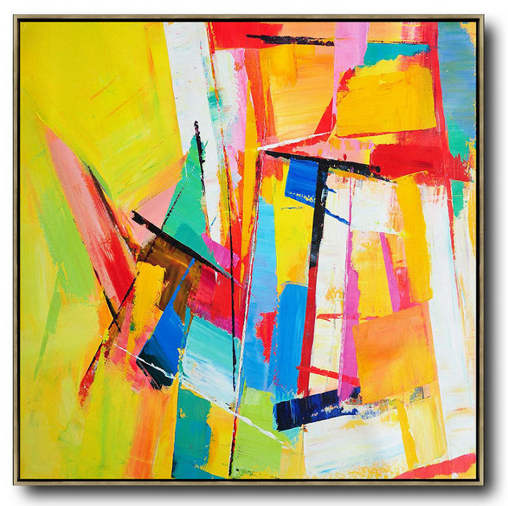 Oversized Palette Knife Painting Contemporary Art,Large Paintings For Living Room,Yellow,Blue,Red,Pink,Light Green
