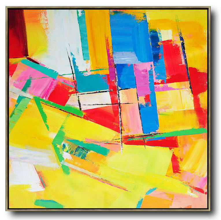 Oversized Palette Knife Painting Contemporary Art,Abstract Painting On Canvas,Yellow,Red,Blue,Pink,Light Green
