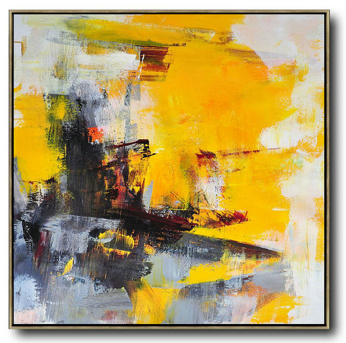 Oversized Palette Knife Painting Contemporary Art,Contemporary Artwork,Black,Yellow,White,Red,Grey