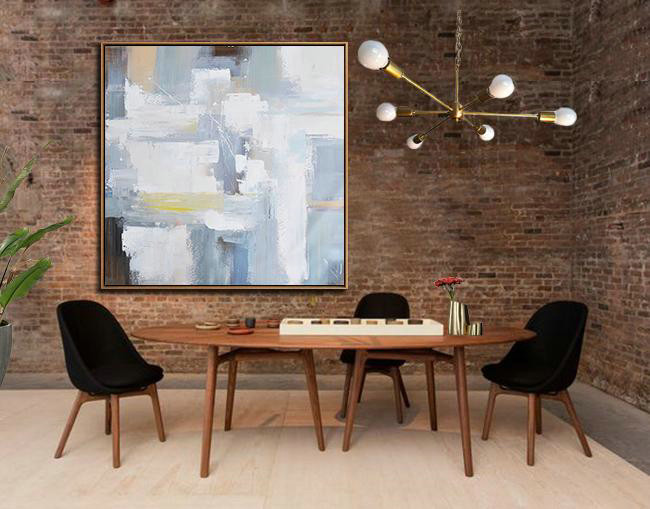 Oversized Palette Knife Contemporary Art,Extra Large Paintings,Grey,White,Blue,Yellow