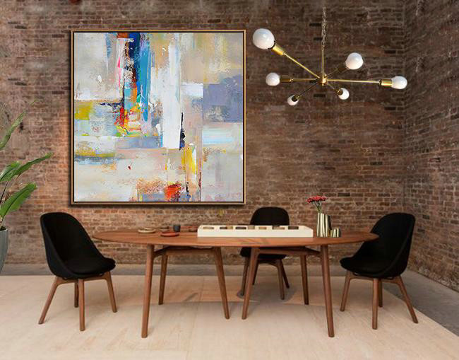 Oversized Palette Knife Painting Contemporary Art,Original Abstract Art Paintings,Blue,Yellow,Nude,Pink,Red - Click Image to Close