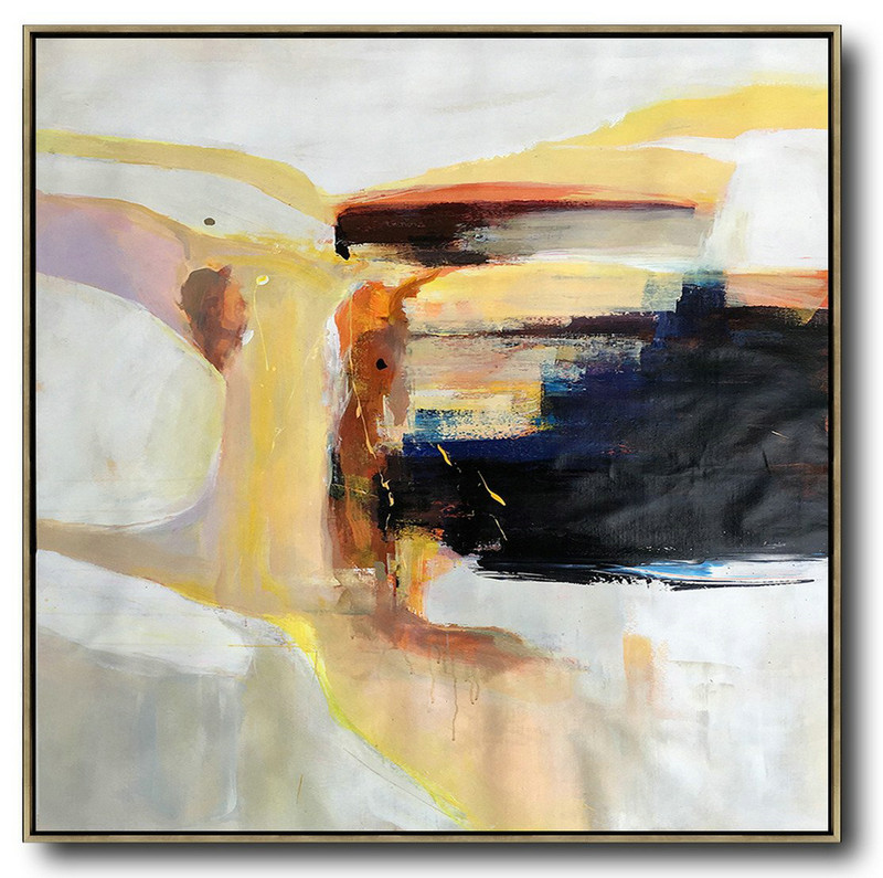 Oversized Palette Knife Contemporary Art,Modern Wall Decor,Yellow,Black,Orange,White,Beige