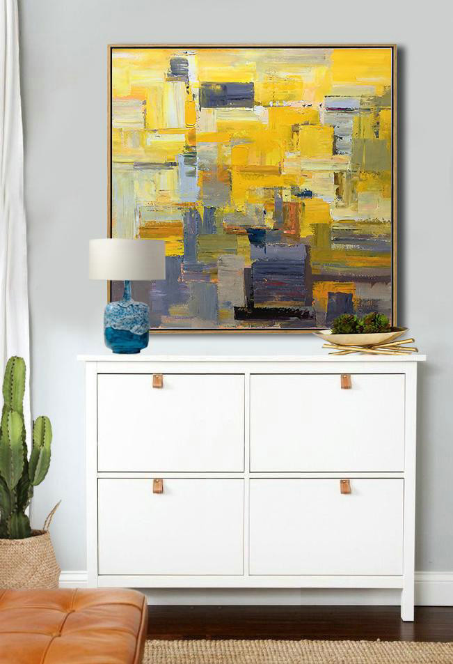 Oversized Palette Knife Painting Contemporary Art,Abstract Painting Modern Art,Yellow,Brown,Taupe,Gray Violet