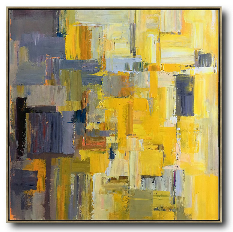 Oversized Palette Knife Painting Contemporary Art,Large Canvas Art,Yellow,Gray Violet,Brown,Taupe