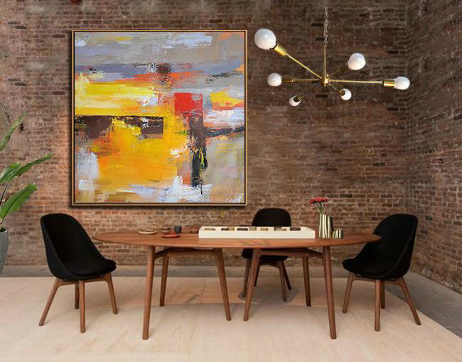 Oversized Palette Knife Painting Contemporary Art,Extra Large Canvas Art,Handmade Acrylic Painting,Yellow,Grey,Brown,Red,Taupe