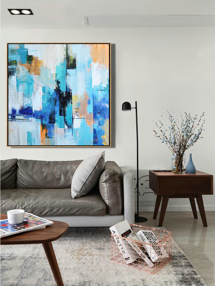 Palette Knife Contemporary Art Canvas Painting,Extra Large Wall Art,Sky Blue,Yellow,White,Blue