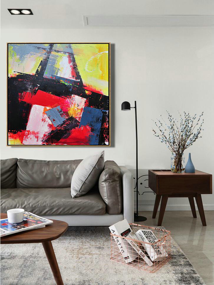 Palette Knife Contemporary Art Canvas Painting,Hand Painted Aclylic Painting On Canvas,Black,Red,Yellow,Pink