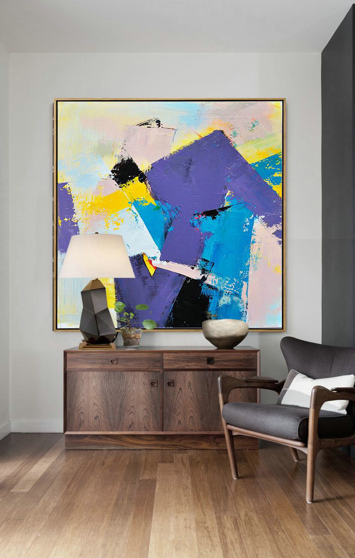 Palette Knife Contemporary Art Canvas Painting,Large Canvas Art,Modern Art Abstract Painting,Light Purple,Yellow,Nude,Sky Blue