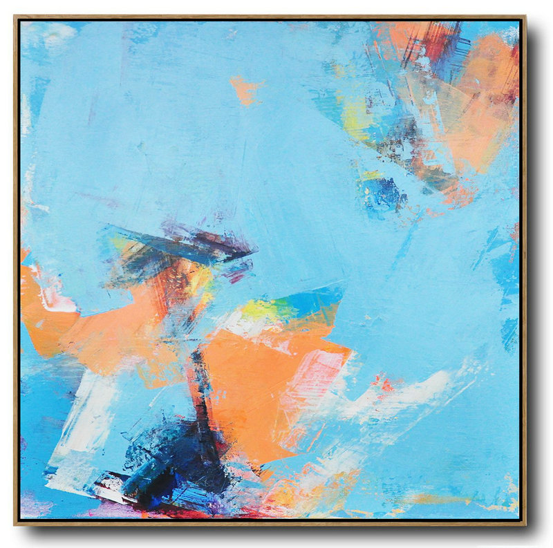 Palette Knife Contemporary Art Canvas Painting,Acrylic Painting On Canvas,Sky Blue,Orange,Yellow,White