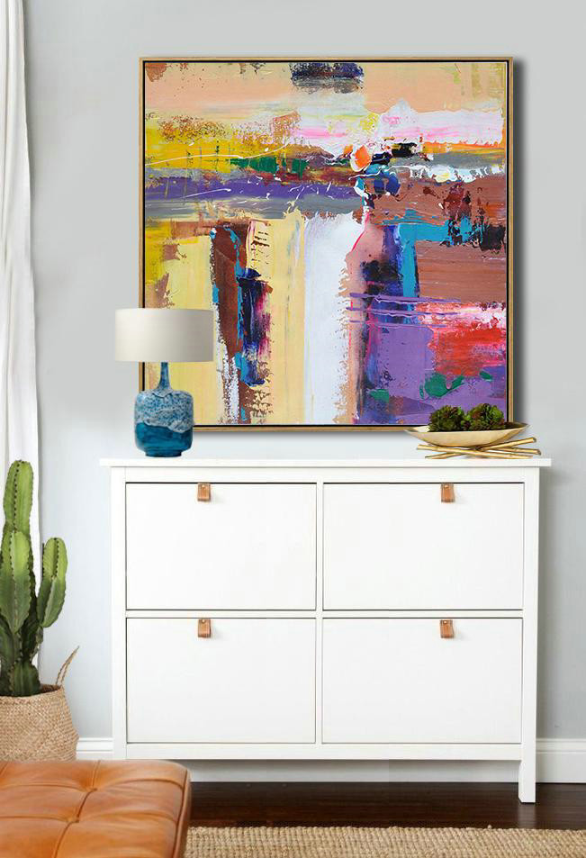 Oversized Palette Knife Painting Contemporary Art,Living Room Wall Art,Yellow,Purple,Brown,Taupe