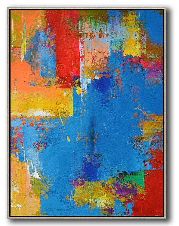 Vertical Palette Knife Contemporary Art,Original Art Acrylic Painting,Blue,Red,Yellow