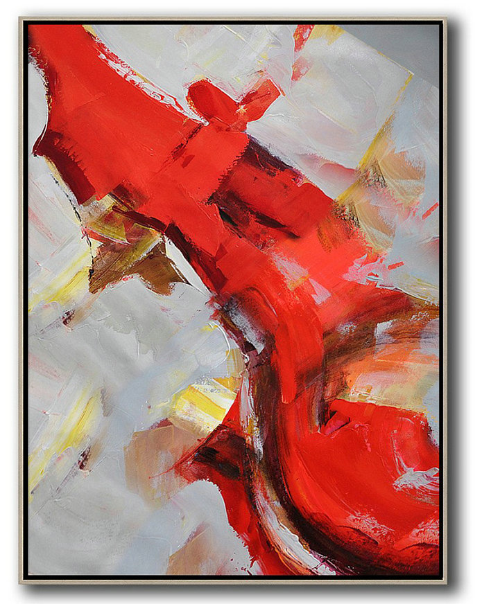 Vertical Palette Knife Contemporary Art,Wall Art Painting,Red,Grey,White,Brown