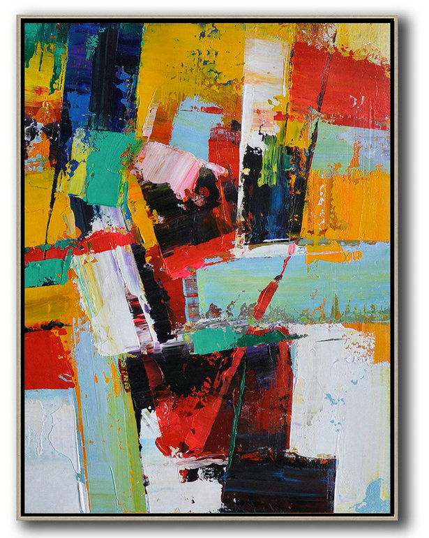 Vertical Palette Knife Contemporary Art,Artwork For Sale,Yellow,Red,White,Blue